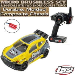 엑스캅터 - Losi 1/24 Micro Rally X 4WD RTR w/DX2E 2.4GHz Radio (Yellow)