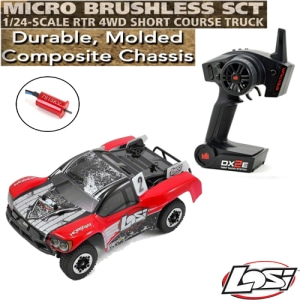 엑스캅터 - Losi 1/24 Micro SCTE 4WD RTR w/DX2E 2.4GHz Radio (Red)